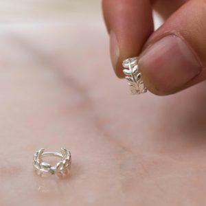 Leafy-Huggie -Hoop-Earrings-925-Sterling-Silver-Overview-Laura-Design